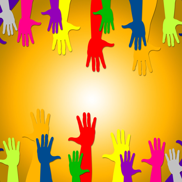 """""""Reaching Out Shows Hands Together And Buddies"""" stock image"""