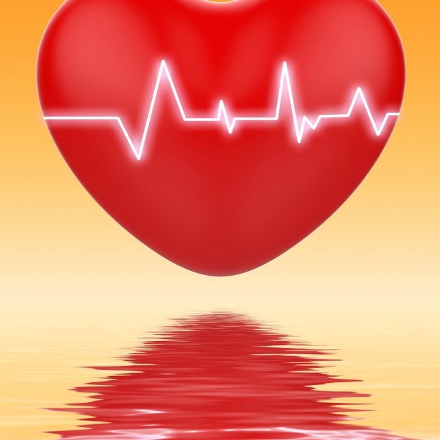 """Electro On Heart Displays Cardiology Or Heart Health"" stock image"