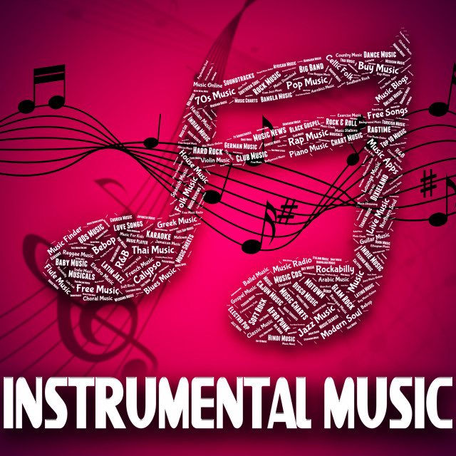 """Instrumental Music Indicates Musical Instruments And Harmony"" stock image"