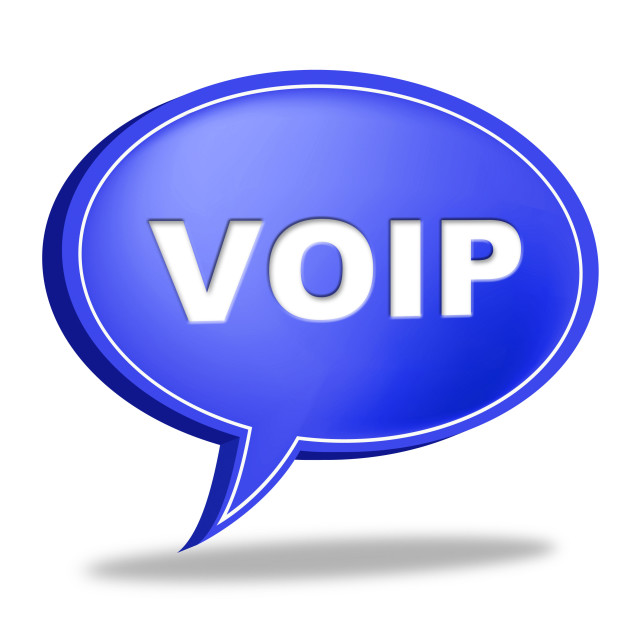 """Voip Speech Bubble Means Voice Over Broadband And Online"" stock image"