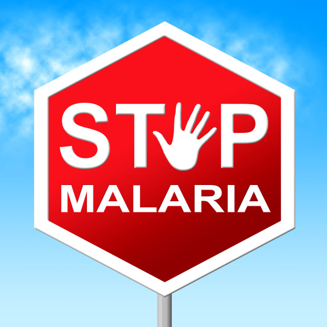"""""""Stop Malaria Means Warning Control And Mosquitoes"""" stock image"""