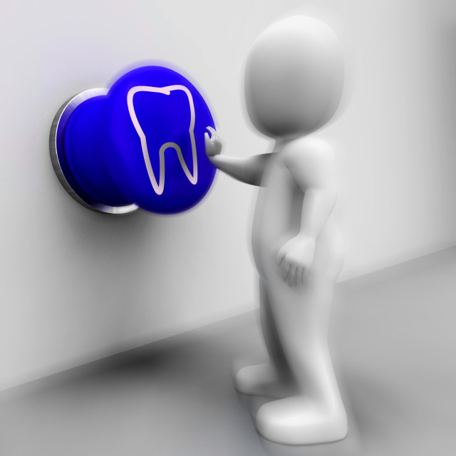 """Tooth Pressed Means Oral Health Or Dentist Appointment"" stock image"