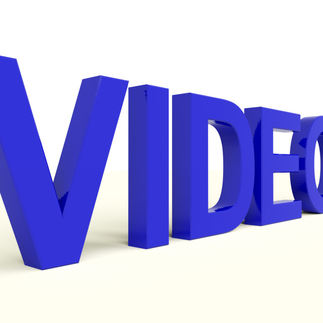 """""""Videos Word In Blue Showing Dvd Or Multimedia"""" stock image"""