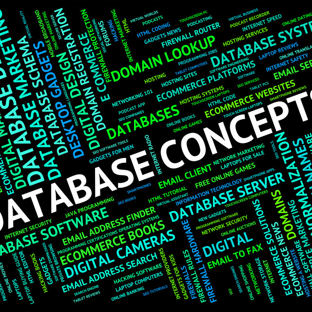 """""""Database Concepts Represents Text Conception And Ideas"""" stock image"""