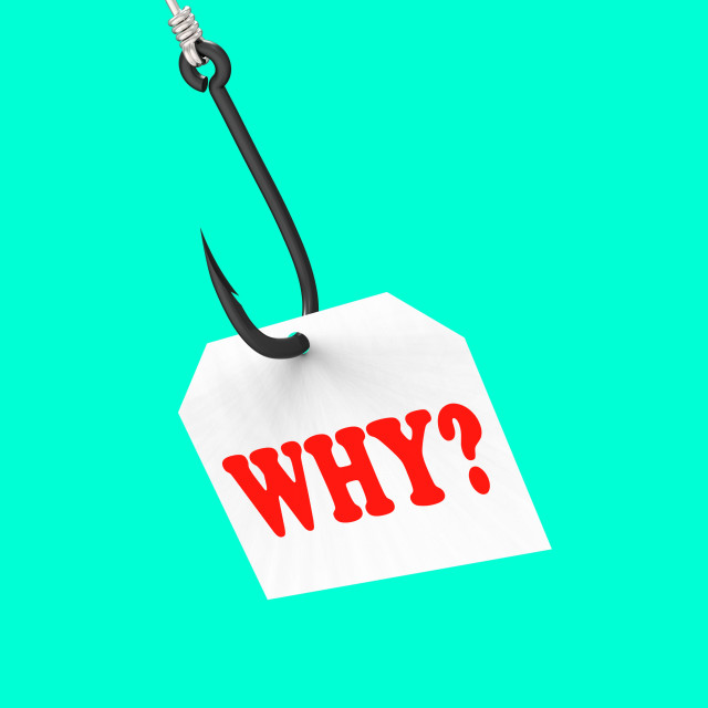 """""""Why? On Hook Shows Uncertainty Or Confusion"""" stock image"""