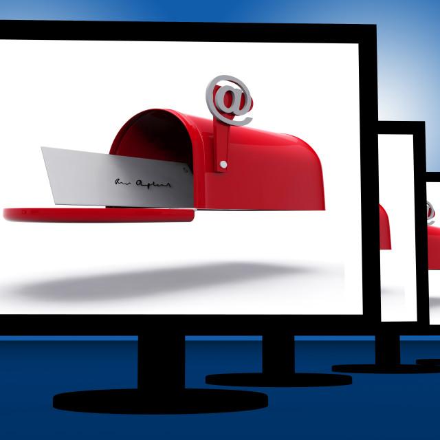 """Mailbox On Monitors Shows Digital Correspondence"" stock image"