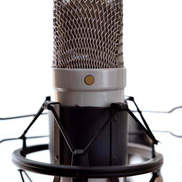 """Studio condenser microphone and equipment white background front view"" stock image"