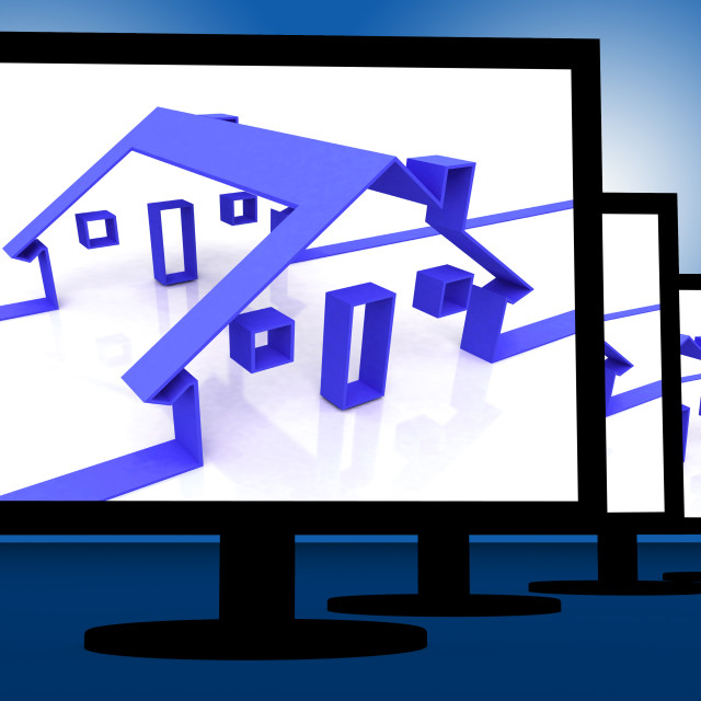 """""""Houses On Monitors Showing Real Estate Icon"""" stock image"""