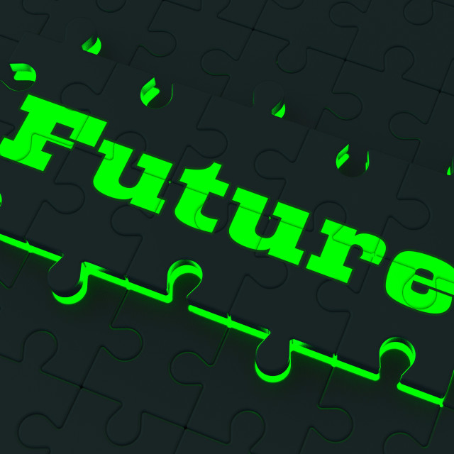 """""""Future Puzzle Shows Destiny And Forecasting"""" stock image"""