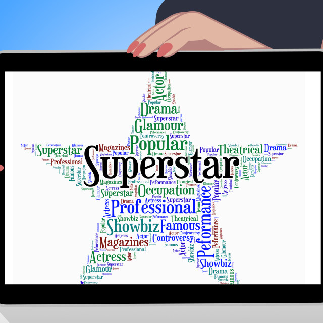 """Superstar Word Means Hot Shot And Figure"" stock image"