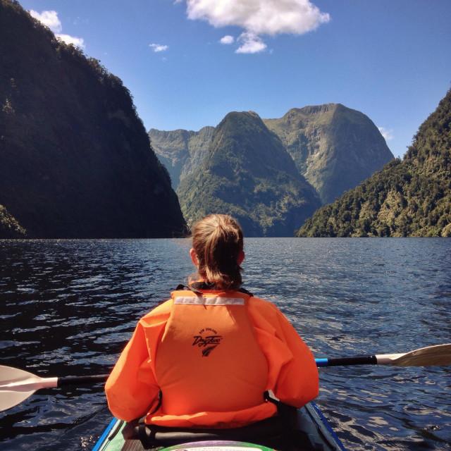"""Kayaking in Doubtful Sound"" stock image"