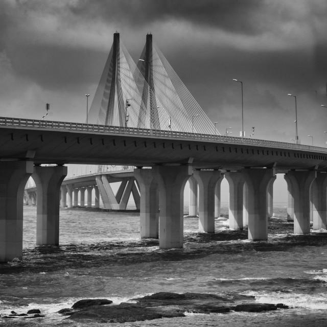 """Bridge & Man"" stock image"