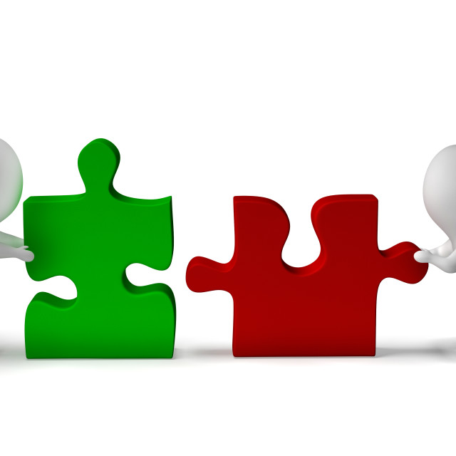 """""""Jigsaw Pieces Being Joined Shows Teamwork And Collaboration"""" stock image"""