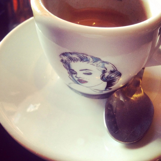 """Espresso coffee cup with Marilyn Monroe drawing"" stock image"