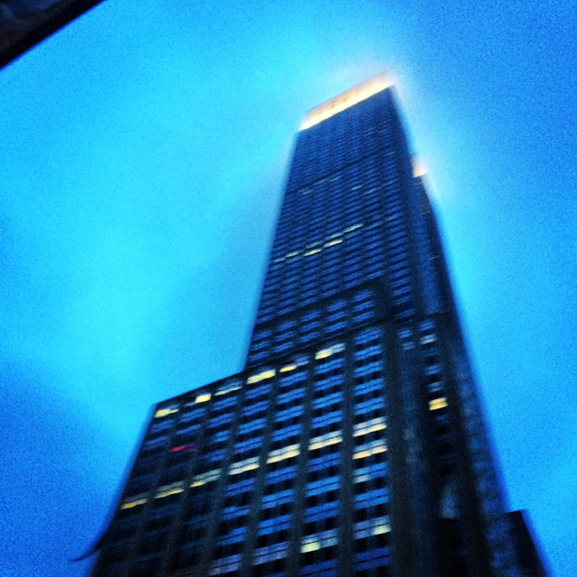 """Empirestatebuilding on a misty night"" stock image"