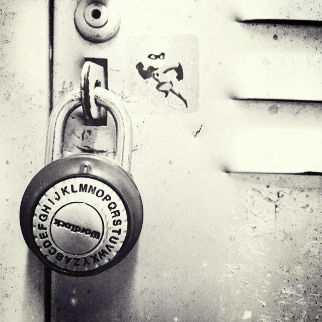 """A combination lock on a school locker."" stock image"