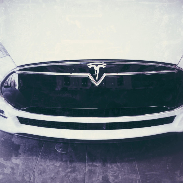 """""""Front of the new Tesla electric vehicle"""" stock image"""