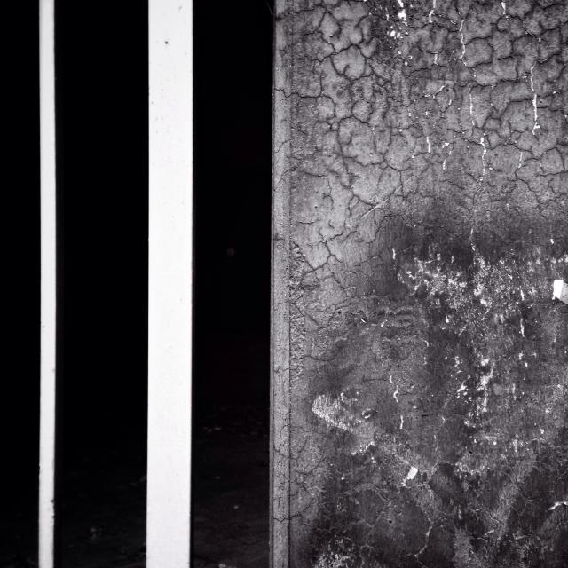 """""""Black and white. Closeup of a gate and a wall."""" stock image"""