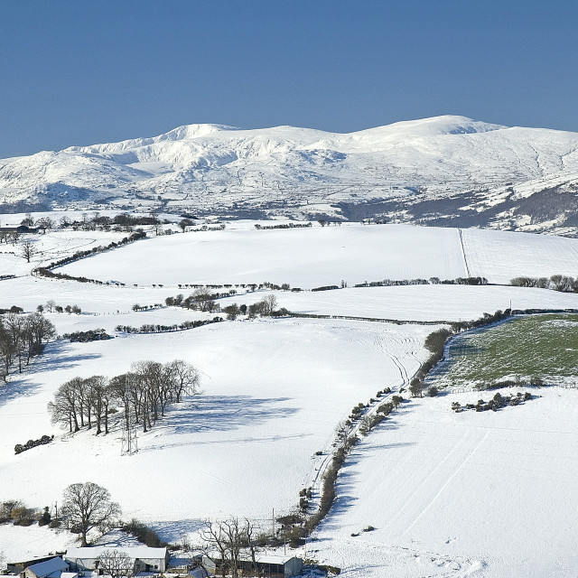 """""""Snow covered fields and mountains"""" stock image"""