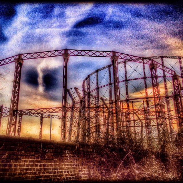 """Kensal Green gas holders, West London, UK"" stock image"