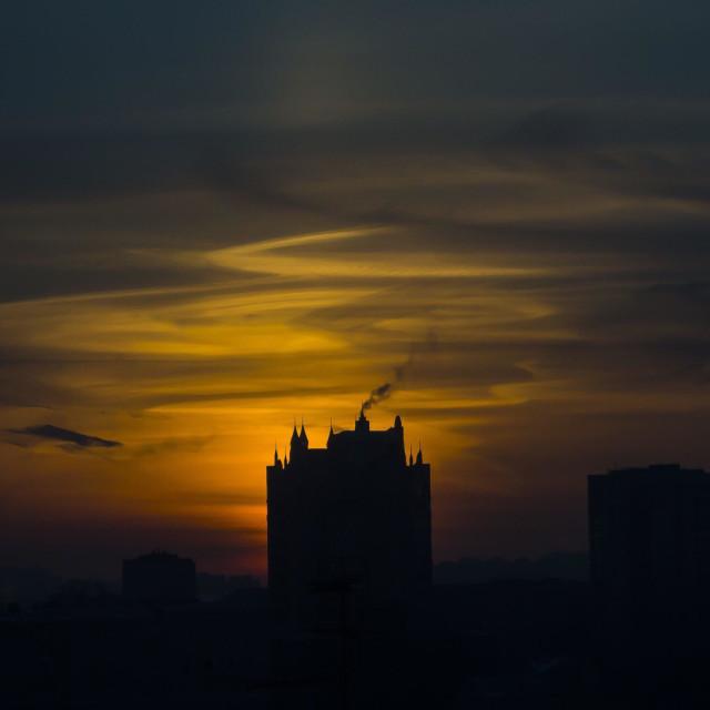 """Sunrise in Saint Petersburg. Russian sky."" stock image"