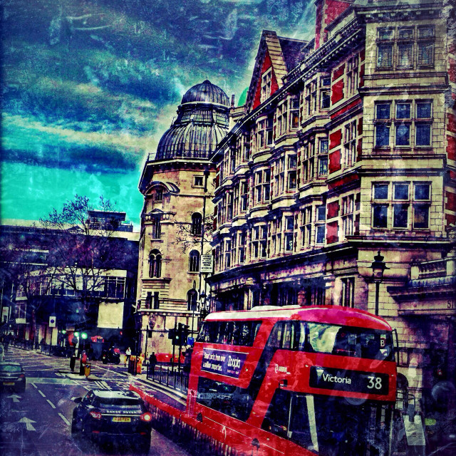 """Double decker Routemaster bus in Central London, UK"" stock image"
