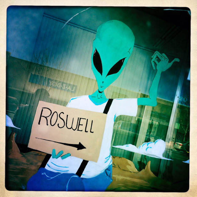 """Alien sign in Roswell New Mexico, USA"" stock image"