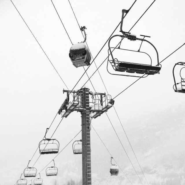 """Ski lifts in Tignes, France"" stock image"