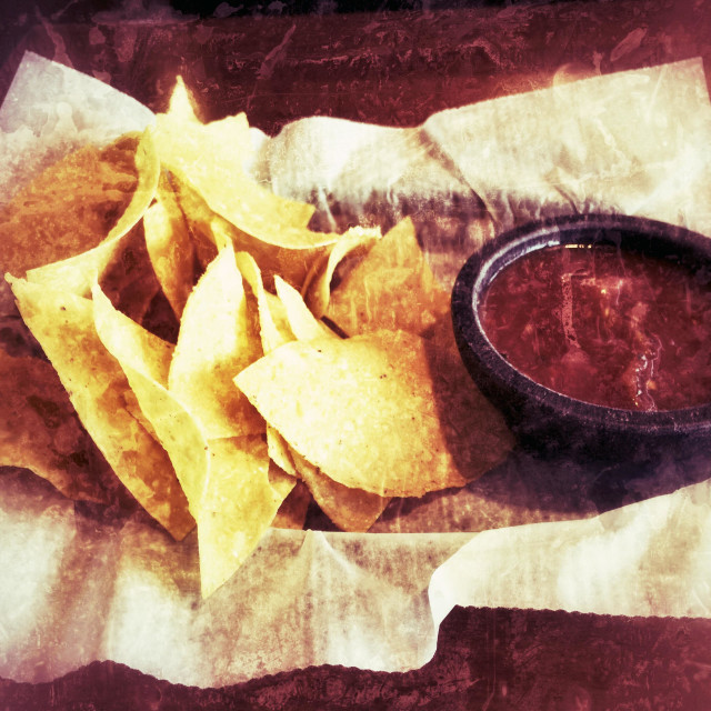 """""""Tortilla Chips with salsa"""" stock image"""