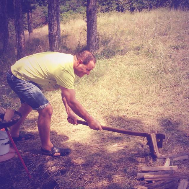 """Young man chopping wood"" stock image"