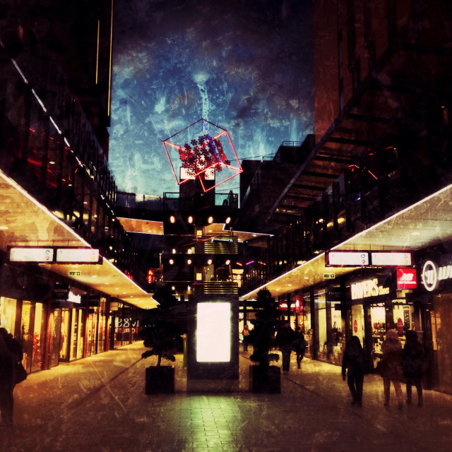 """The London Designer Outlet at night, Wembley Park, London Borough of Brent, England, UK"" stock image"