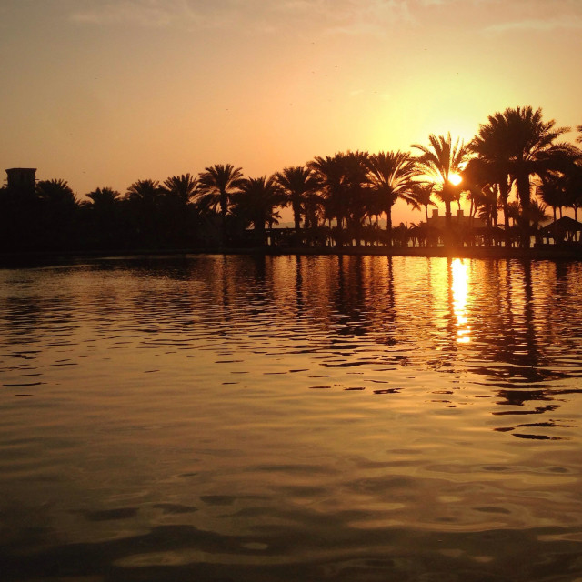 """Sunset at Madinat complex in Dubai"" stock image"
