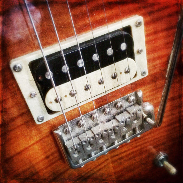"""""""Electric guitar bridge and pickup"""" stock image"""