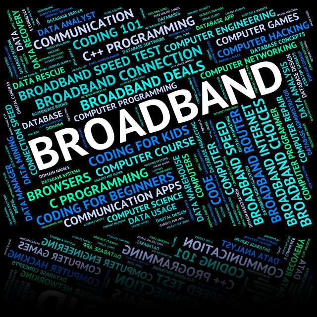 """Broadband Word Means World Wide Web And Communicate"" stock image"