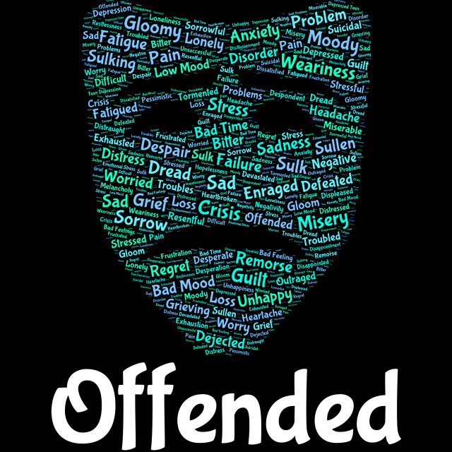 """Offended Word Represents Put Out And Affronted"" stock image"
