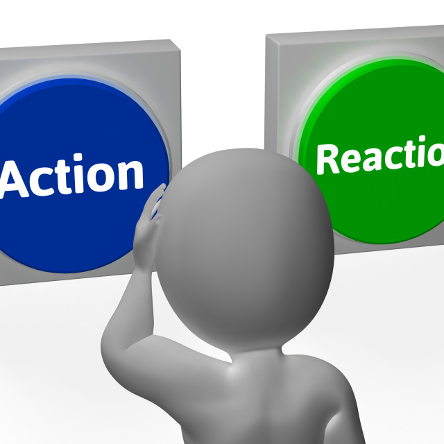"""Action Reaction Buttons Show Control Or Effect"" stock image"