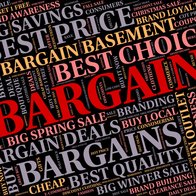 """""""Bargain Word Means Closeout Text And Save"""" stock image"""