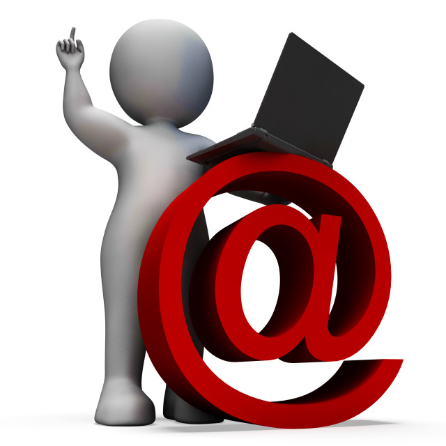 """""""Email Sign And Laptop Showing Correspondence"""" stock image"""