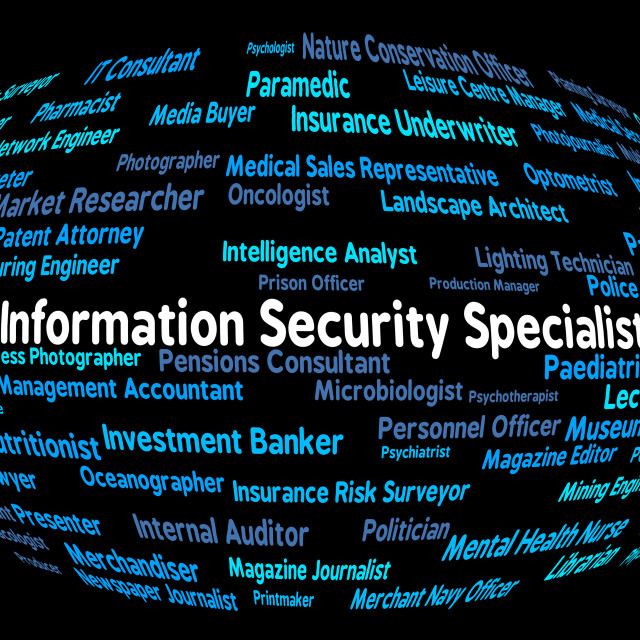 """Information Security Specialist Represents Skilled Person And Answer"" stock image"