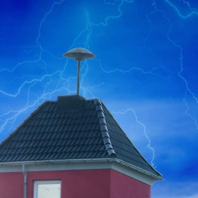 """""""Flashes over a small tower with Air Raid Siren"""" stock image"""