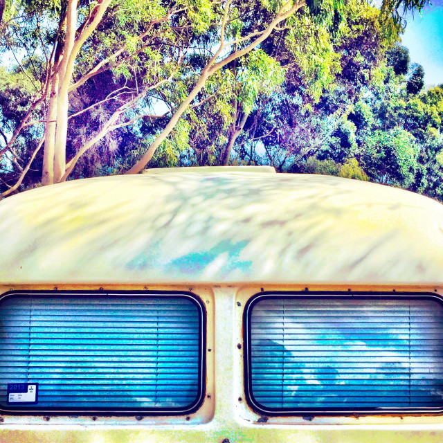 """""""An old caravan that looks like a the top of a robot"""" stock image"""