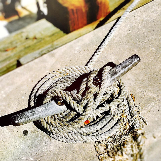 """""""Rope on dock cleat"""" stock image"""
