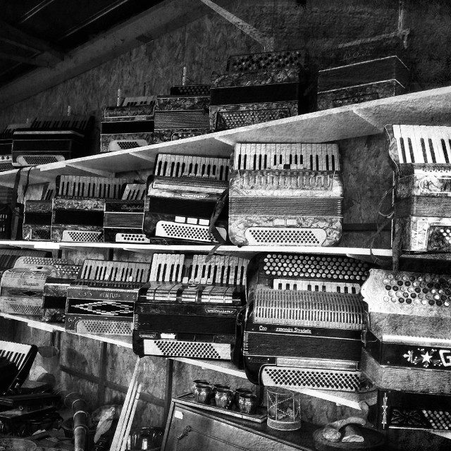 """Accordions for sale"" stock image"