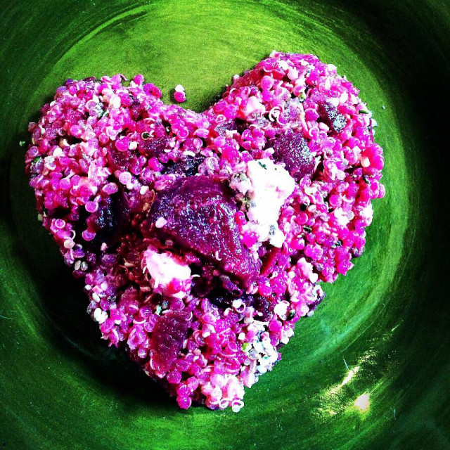"""Quinoa , beet and feta heart"" stock image"