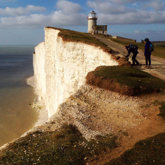 """""""The Belle Tout lighthouse near Beachy Head, Seven Sisters, South Downs, UK"""" stock image"""