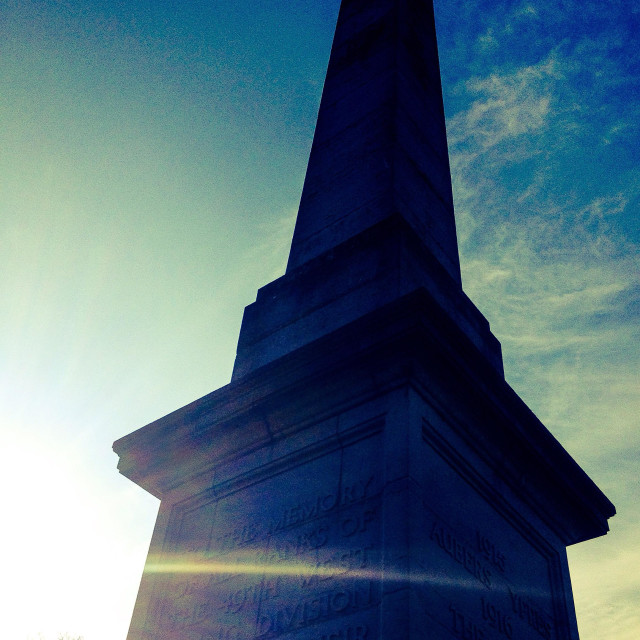 """Sun beam shining across a first World War memorial in Ypres, Belgium."" stock image"