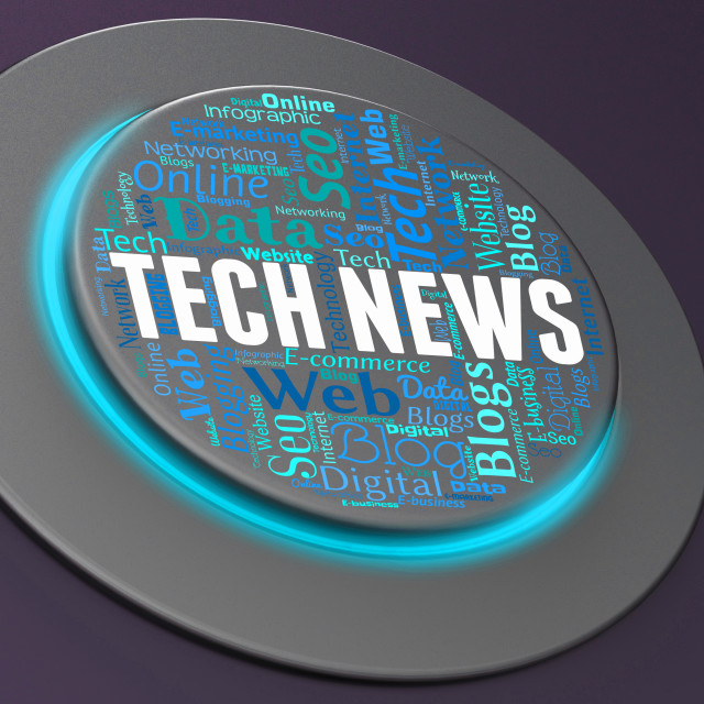 """Tech News Represents Push Button And Digital"" stock image"