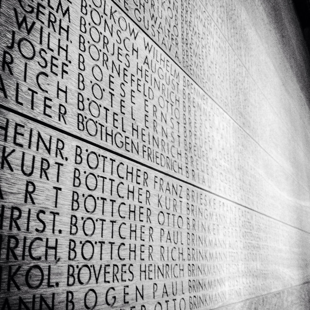 """Langemark German WW1 memorial- missing soldiers names"" stock image"