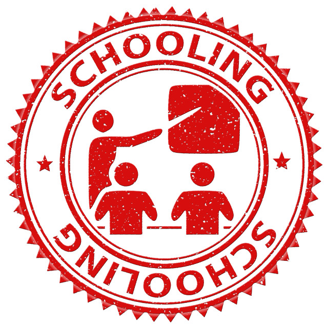 """Schooling Stamp Shows Stamped Study And Educating"" stock image"
