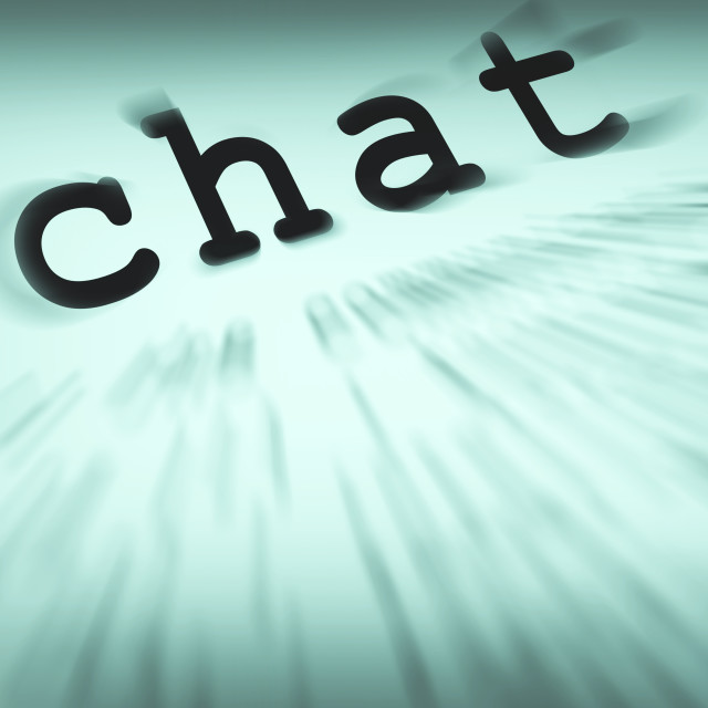 """Chat Definition Displays Online Communication Or Text Talking"" stock image"